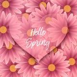 Cześć wiosna tekst, kwiecisty tło Obrazy Stock