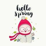 Cześć wiosny śliczny dziecko ilustracja wektor