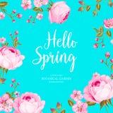 Cześć wiosny karta nad błękitnym tłem Zdjęcie Stock