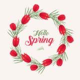 Cześć wiosny kwiecista rama dla teksta, odizolowywająca na białym tle Wiosna szablon dla twój projekta, karty, zaproszenia ilustracji