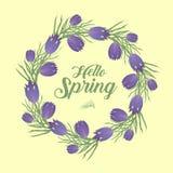 Cześć wiosny kwiecista rama dla teksta, odizolowywająca na białym tle Wiosna szablon dla twój projekta, karty, zaproszenia, plaka ilustracji