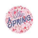 Cześć wiosny ręki literowanie i doodle ilustracja Pocztówka, zaproszenie i sztandaru projekt z doodle, opuszczamy koral zdjęcia royalty free