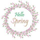 Cześć wiosny tło z kwiatami Rama Fotografia Stock