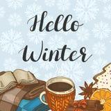 Cześć zima Ilustracja z szkocką kratą, ciastkami, kakao i pikantność, royalty ilustracja