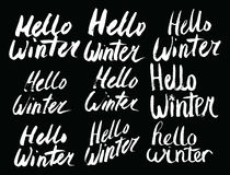 Cześć zimy kolekci tekst wektor literowanie TARGET688_1_ ręką Podpisu muśnięcie listy Zdjęcia Stock