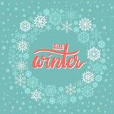 Cześć zimy ręki literowania kartka z pozdrowieniami ilustracji
