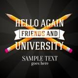 Cześć znowu przyjaciele i uniwersytecki powitanie z ilustracja wektor