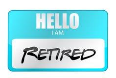 Cześć jestem przechodzić na emeryturę etykietką Fotografia Stock