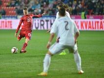 CZE-LATVladimír Darida, Igors Tarasovs and Vitalijs Maksimovs. Prague 28/03/2015 _ Match of EURO 2016 qualification group A Czech Republic - Latvia 1:1 (0:1 royalty free stock image