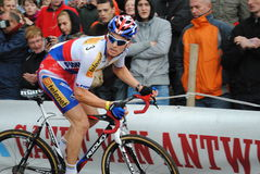 Czec cyclocross champion in action stock photography
