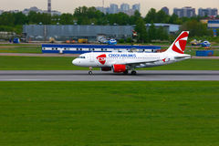 Czech Airlines Airbus A319-112 aircraft in Pulkovo International airport in Saint-Petersburg, Russia Stock Image