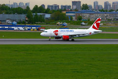 Czech Airlines Airbus A319-112 aircraft in Pulkovo International airport in Saint-Petersburg, Russia Royalty Free Stock Photography