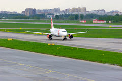 Czech Airlines Airbus A319-112 aircraft in Pulkovo International airport in Saint-Petersburg, Russia Royalty Free Stock Photos