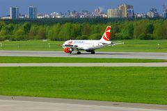 Czech Airlines Airbus A319-112 aircraft in Pulkovo International airport in Saint-Petersburg, Russia Royalty Free Stock Photo