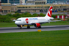 Czech Airlines Airbus A319-112 aircraft in Pulkovo International airport in Saint-Petersburg, Russia. SAINT-PETERSBURG, RUSSIA - MAY 23, 2015.  Czech Airlines Stock Image