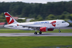 Czech Airlines Fast. Czech Airlines landing at Vilnius Intl airport Stock Photography