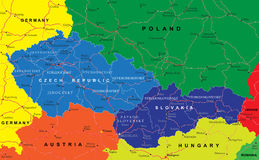 Czech And Slovak Republics Map Stock Images
