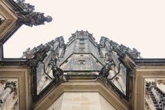 Czech architecture, scary gargoyle sculpture, gothic temple decoration. Medieval art, mystic gargoyle monster statue, St. Vitus Ca stock image