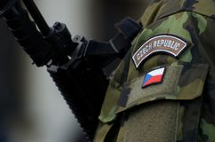 Czech Army. Member of Czech Army with weapon stock images