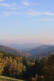 Czech autumn mountains  fog Stock Photos