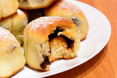 Czech baked buns with jam and sugar Stock Images