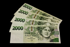 Czech banknotes. On black background Royalty Free Stock Images