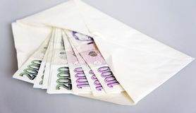 Czech banknotes in envelope Royalty Free Stock Images