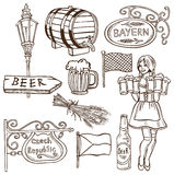 Czech beer and Bavarian drawing Royalty Free Stock Image