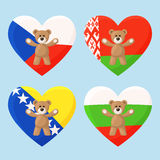 Czech, Belarusian, Bosnian and Bulgarian Teddy Bears Stock Photos