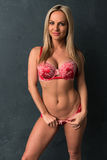 Czech blonde in red Stock Images
