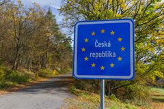 Czech border sign by the road. Travel background stock photography