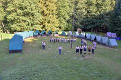 Czech boy and girl scouts during their summer camp. Czech scouts usually stay in tents for 2 or 3 weeks. August 10, 2017;. Drahnovice in Czech republic stock image