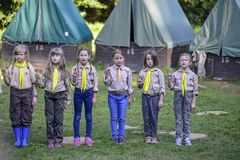 Czech boy and girl scouts during their summer camp. Czech scouts usually stay in tents for 2 or 3 weeks. August 10, 2017;. Drahnovice in Czech republic royalty free stock image