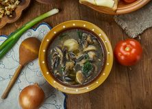 Czech Bramboracka. Bramboracka, Czech Potato Soup with Wild Forrest Mushrooms, Czech cuisine, Traditional assorted dishes, Top view royalty free stock photos