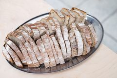 Czech bread and salt traditional welcome plate Stock Image