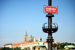 Czech Bridge over Vltava in Prague. Czech Bridge over the Vltava with Prague Castle in the background Royalty Free Stock Image