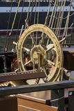 Steering wheel on Czech brig La Grace. Moored in Turku during The Tall Ships´ Races 2017. Aura river, Turku, Finland. La Grace is a replica of a brig from the Stock Photography
