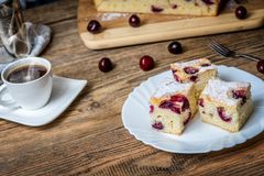 Czech bubble cake. Traditional czech bubble cake or souffle with cherries royalty free stock photo