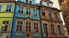 Czech buildings. In a tight Alley Stock Photos
