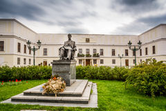 Czech castle Karvina Frystat. And sculpture of czech president Tomas Garrigue Masaryk royalty free stock photography