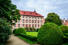 Czech castle Libochovice. Czech baroque castle Libochovice in sunny day stock images