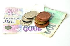 Czech coins and banknotes. On white background Royalty Free Stock Images