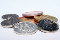 Czech coins of different denominations isolated on a white background. Lots of Czech coins. Macro photos of coins. Various Czech. Stock Photography