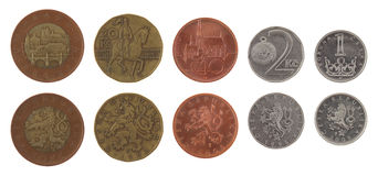 Czech Coins Isolated on White Royalty Free Stock Image