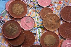 Czech coins on map of city Stock Image