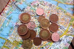 Czech coins on map of Prague Stock Photography