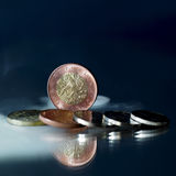 Czech coins on mirror Royalty Free Stock Photo