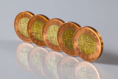 Czech coins standing on the glass table Stock Photo