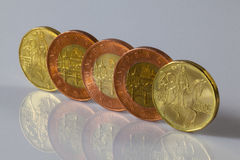 Czech coins standing on a table Royalty Free Stock Image