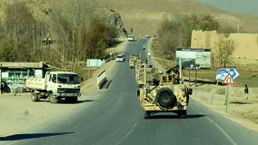 Czech convoy. The czech military convoy on the road in afghanistan Royalty Free Stock Images